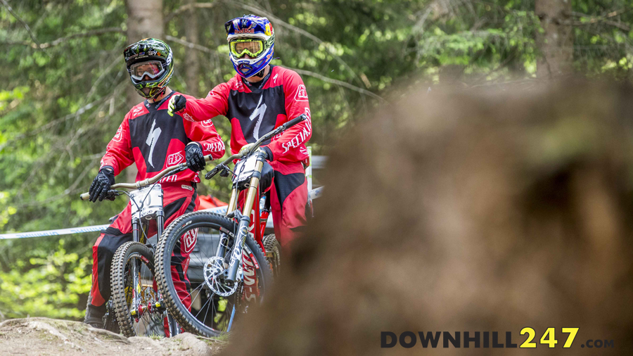 Team-mates Troy Brosnan and Aaron Gwin scouting lines.