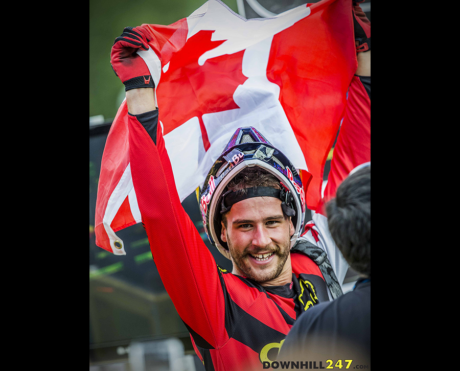 The grin of a well deserved winner, Steve Smith hasn't got long to celebrate before heading to Whistler for Crankworx. It's on with the job and onto the next race, but this win won't be forgotten quickly.