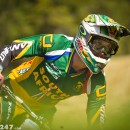 Green and gold, plus a few other colours! Reigning world champion Greg Minnaar flying the flag for South Africa.
