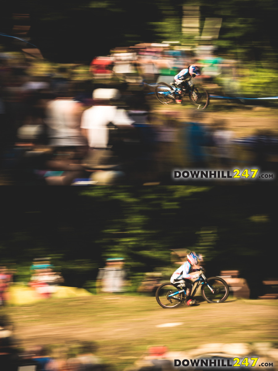 Danny Hart got wild off the drop into the final straight, almost leaving the course and collecting some spectators!