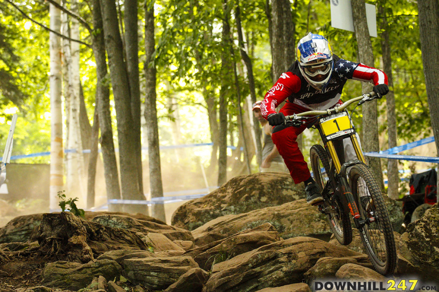 Fastest qualifier, Aaron Gwin, shows us he is the man to beat at his home course with a 2+ second gap from 2nd place.