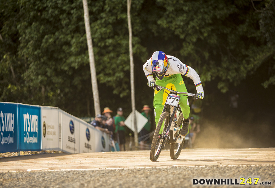 Loic Bruni charging for the line and his first world cup victory.