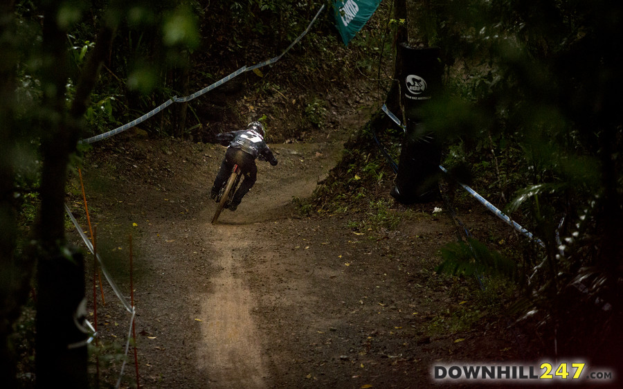 The wooded sections were quite dark when the clouds rolled over throughout the day, Troy Brosnan laying down a top 5 time in timed training.