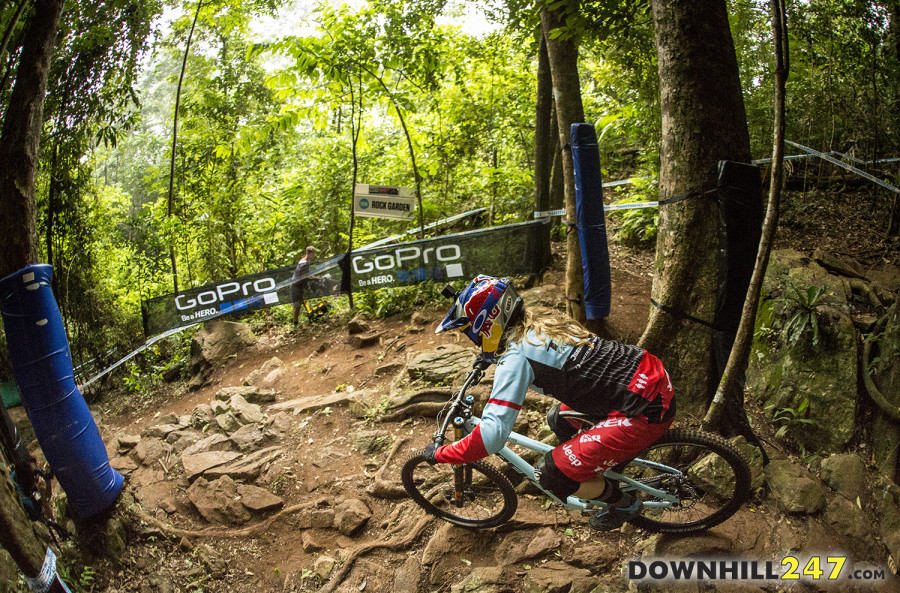 Rachel Atherton taking on the course early in the day.