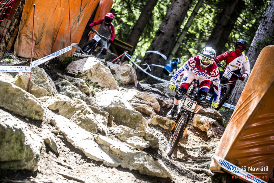 Steve Peat in the rock garden for one of the last world cups of his career.