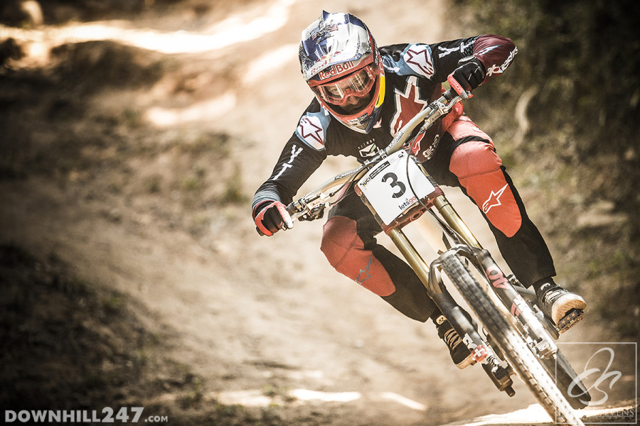 Aaron Gwin keeping it low and fast.
